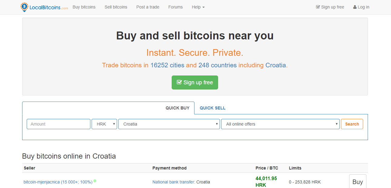 LocalBitcoins Home Page